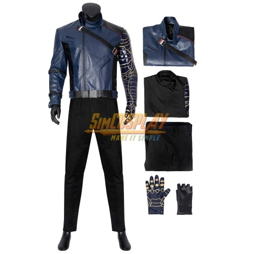 Winter Soldier Costume The Falcon and the Winter Soldier Bucky Barnes Leather Cosplay Suit Ver.2