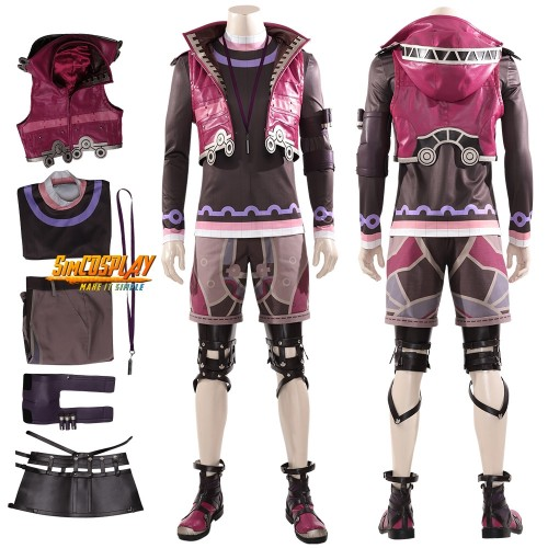 Xenoblade Shulk Cosplay Costume Xenoblade Chronicles Shulk Red Leather Cosplay Suit