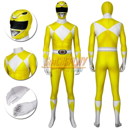 Yellow Ranger Cosplay Suit Power Rangers Yellow HQ Printed Spandex Costume
