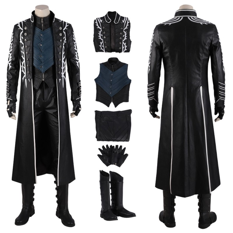 Devil May Cry 5 Vergil Cosplay Costumes Black Trench Coat ...