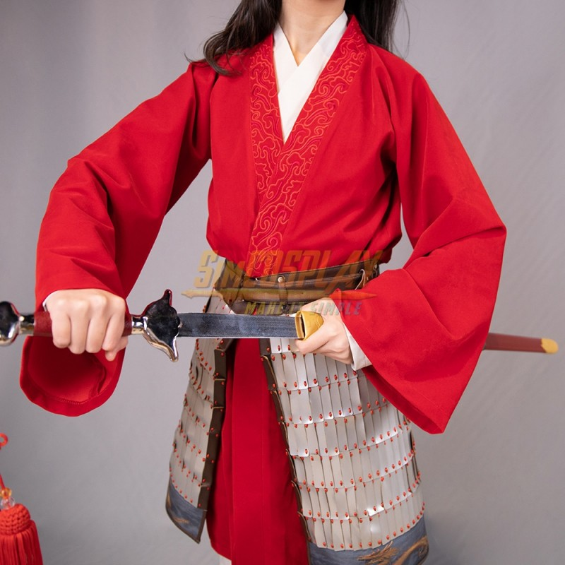 Mulan Cosplay Costumes 2020 New Mulan Female Chinese Style Red Cosplay Suit