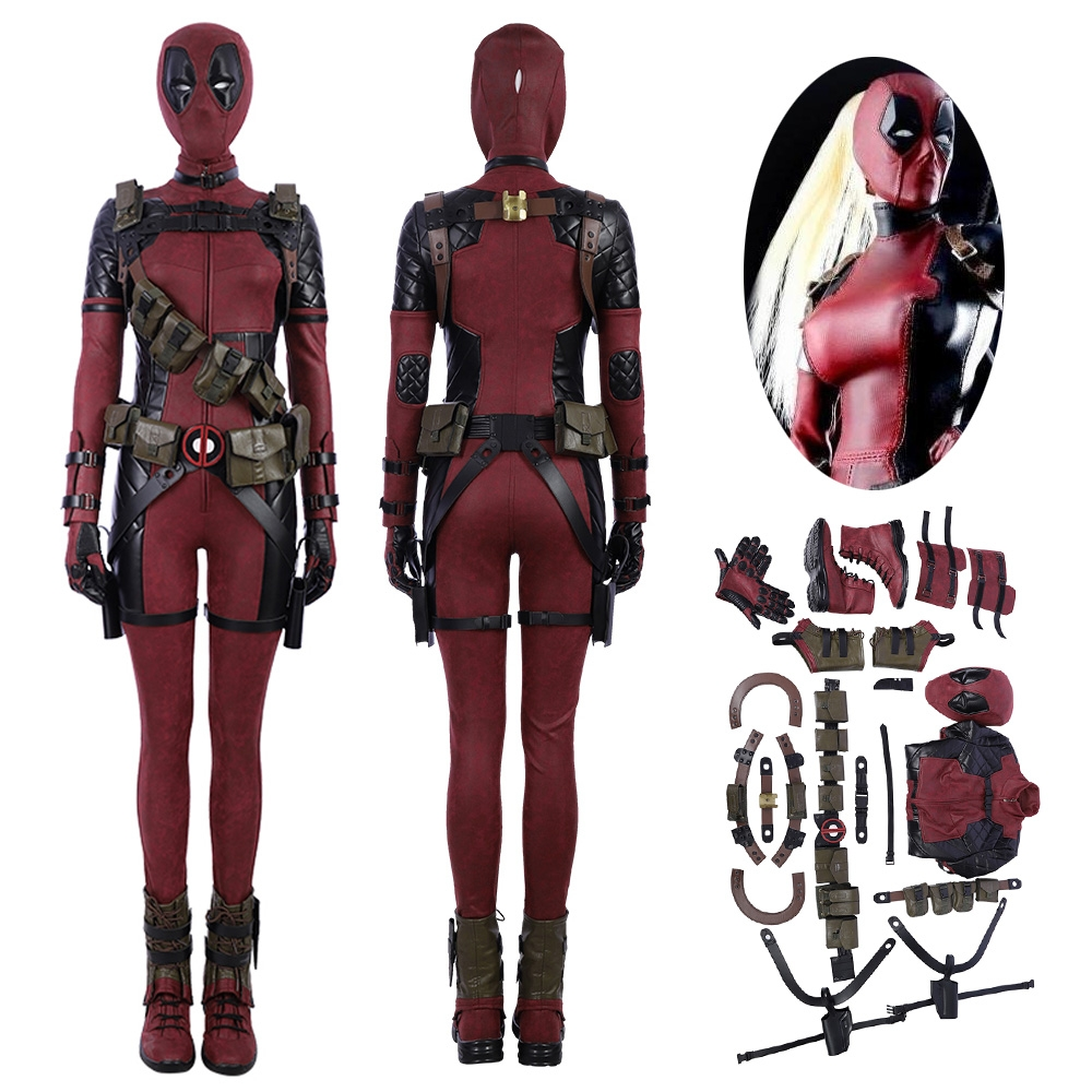 Female Lady Deadpool Cosplay Costume Suit Leather Deluxe Version