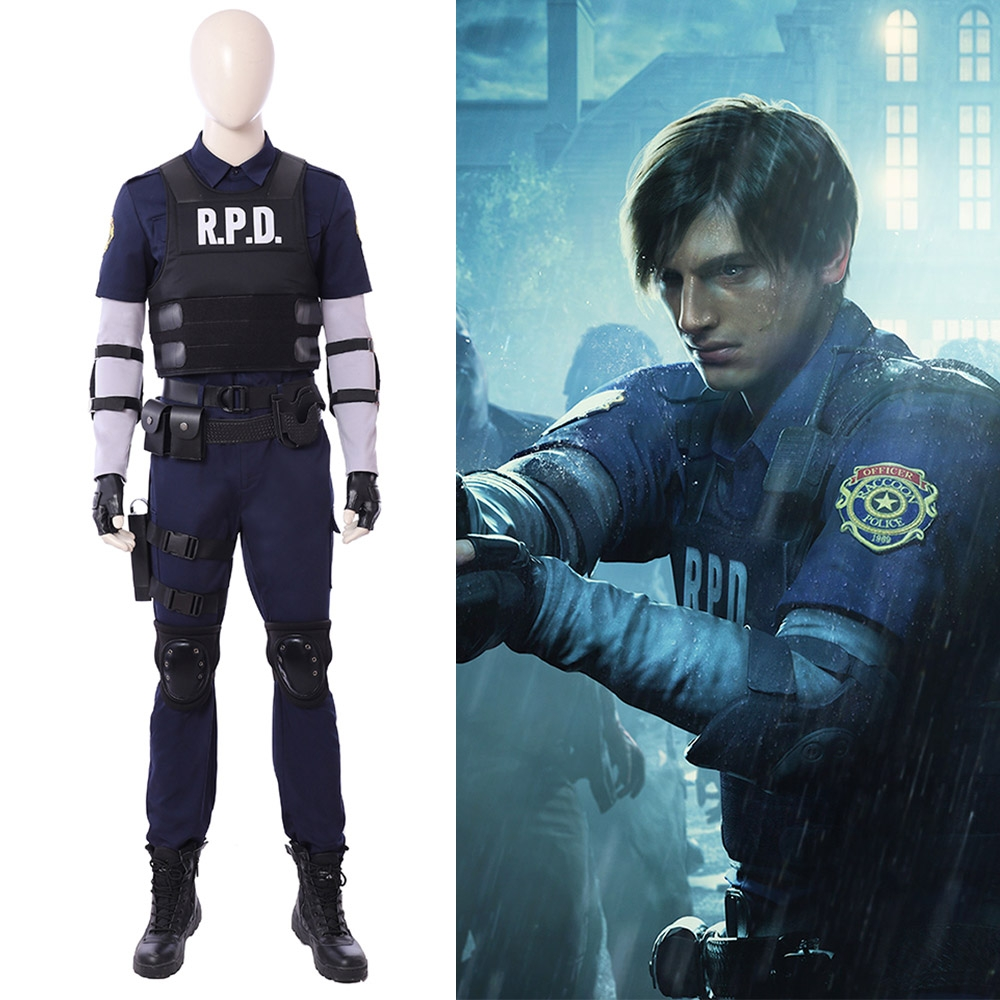 Resident Evil 2 Remake Cosplay Leon R.P.D. Suit Cosplay Costume Top Level